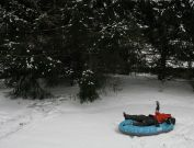 Inflatable boat in the snow